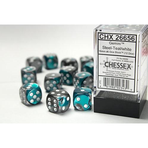 Chessex 12D6 Set Gemini Steel-Teal/White 26456