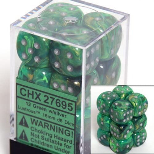 Chessex 12D6 Set Lustrous Green/Silver 27695