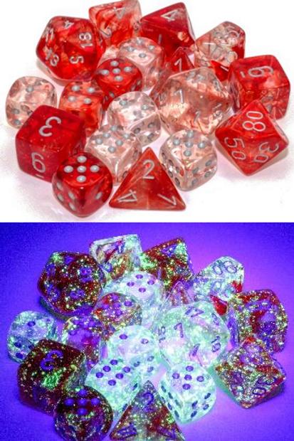 Chessex Polyhedral Set Luminary Nebula Red/Silver 27554