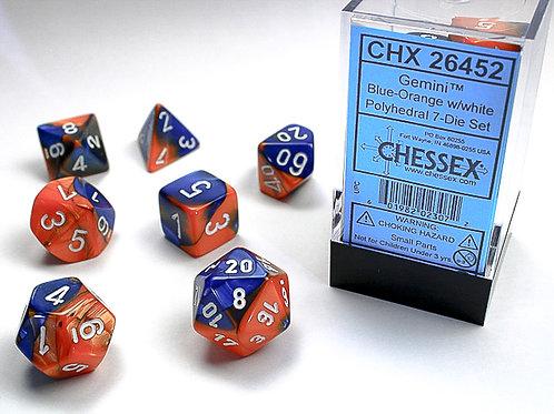 Chessex Polyhedral Set Gemini Blue-Orange/White 26452