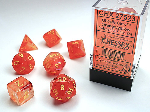 Chessex Polyhedral Set Ghostly Glow Orange/Yellow 27523