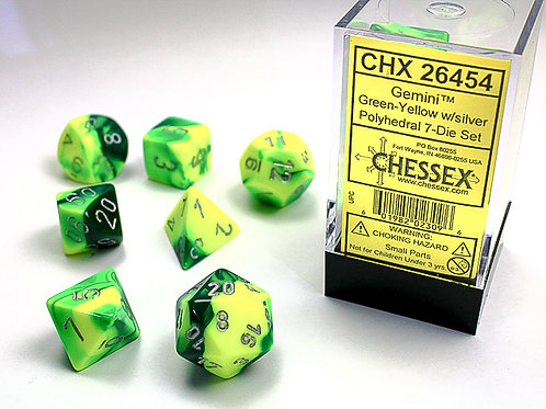 Chessex Polyhedral Set Gemini Green-Yellow/Silver 26454