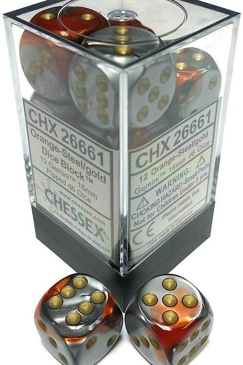 Chessex 12D6 Set Gemini Orange-Steel/Gold