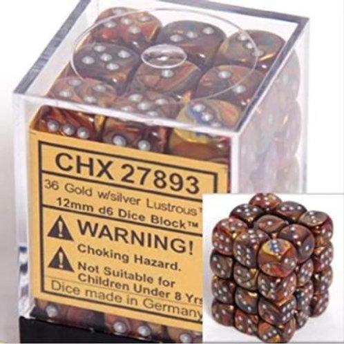 Chessex 36D6 Set Lustrous Gold/Silver 27893