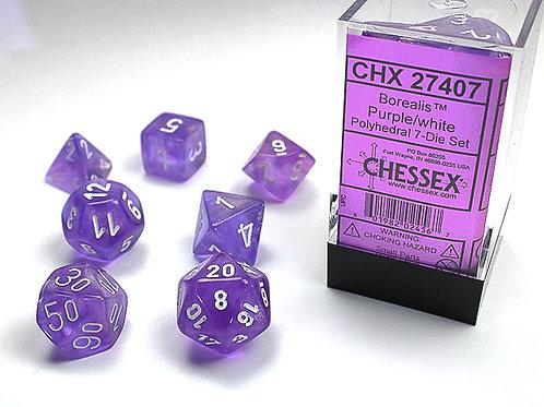 Chessex Polyhedral Set Borealis Purple/White 27407