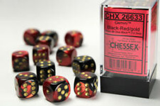 Chessex 12D6 Set Gemini Black-Red/Gold 26633