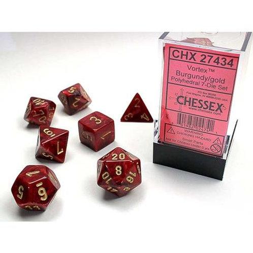 Chessex Polyhedral Set Vortex Burgundy/Gold 27434