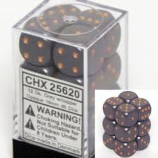 Chessex 12D6 Set Opaque Dark Grey/Copper 25620