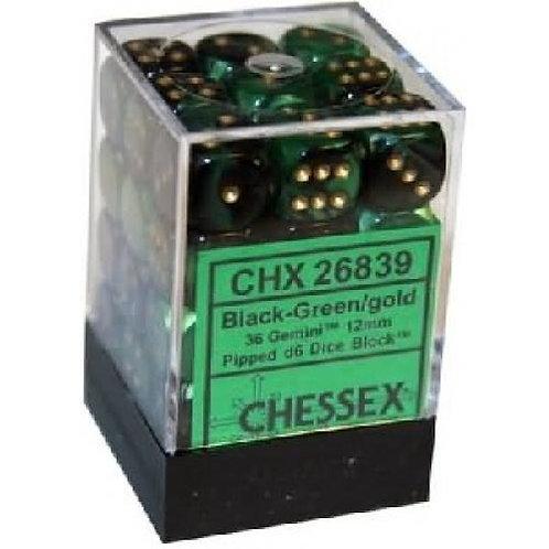 Chessex 36D6 Set Gemini Black-Green/Gold 26839