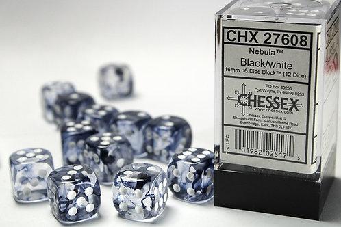 Chessex 12D6 Set Nebula Black/White 27608