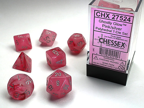 Chessex Polyhedral Set Ghostly Glow Pink/Silver 27524