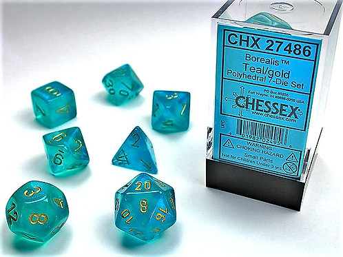 Chessex Polyhedral Set Borealis Teal/Gold 27486