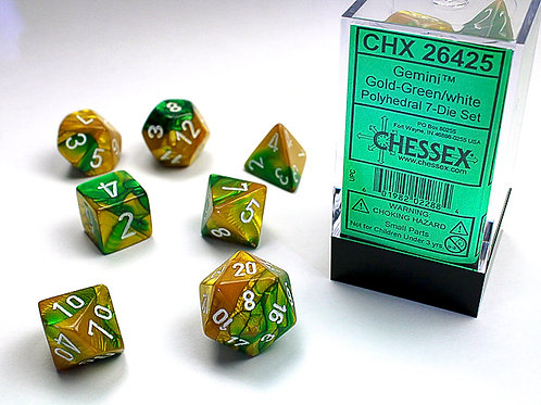 Chessex Polyhedral Set Gemini Gold-Green/White 26425