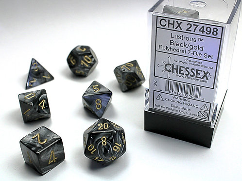 Chessex Polyhedral Set Lustrous Black/Gold 27498