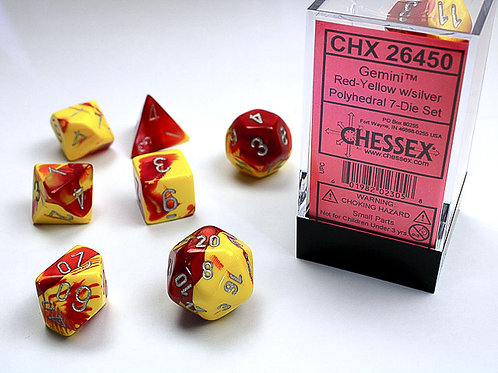 Chessex Polyhedral Set Gemini Red-Yellow/Silver 26450