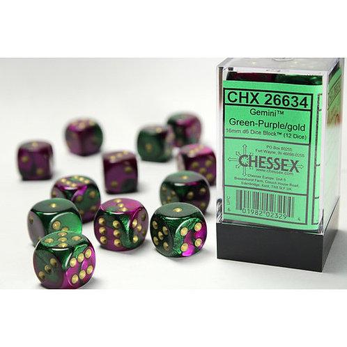 Chessex 12D6 Set Gemini Green-Purple/Gold 26634