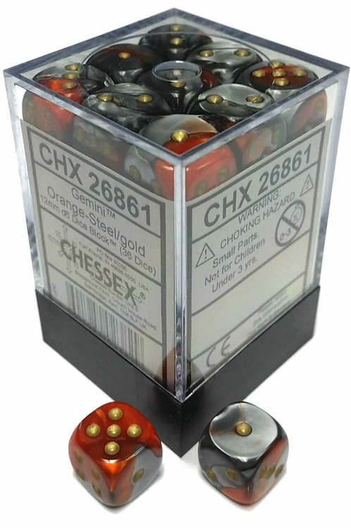 Chessex 36D6 Set Gemini Orange-Steel/Gold