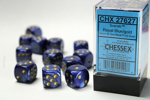 Chessex 12D6 Set Scarab Royal Blue/Gold 27627