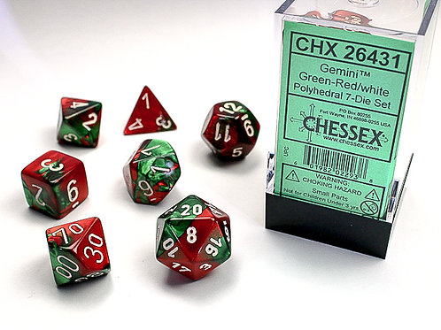 Chessex Polyhedral Set Gemini Green-Red/White 26431