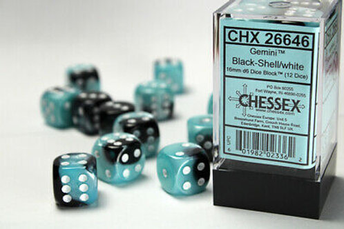 Chessex 12D6 Set Gemini Black-Shell/White 26646
