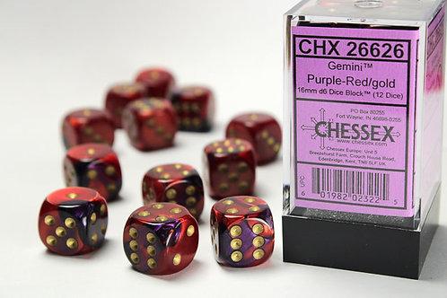Chessex 12D6 Set Gemini Purple-Red/Gold 26626
