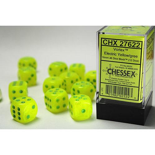 Chessex 12D6 Set Vortex Electric yellow/Green 27622