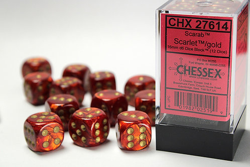 Chessex 12D6 Set Scarab Scarlet/Gold 27614