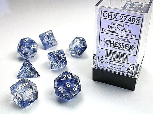 Chessex Polyhedral Set Nebula Black/White 27408