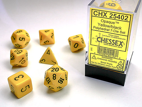 Chessex Polyhedral Set Opaque Yellow w/Black 25402