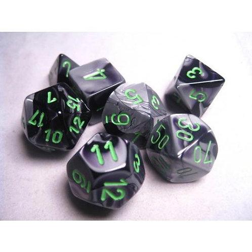 Chessex Polyhedral Set Gemini Black-Grey/Green 26445