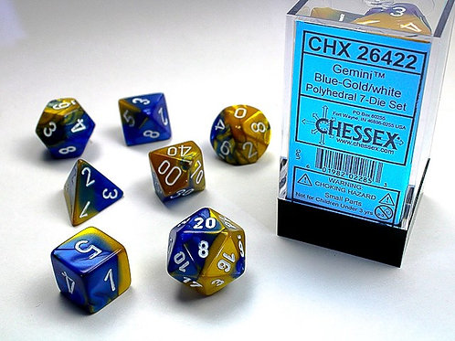Chessex Polyhedral Set Gemini Blue-Gold/White 26422