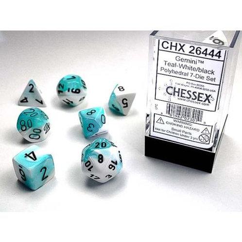 Chessex Polyhedral Set Gemini Teal-White/Black 26444
