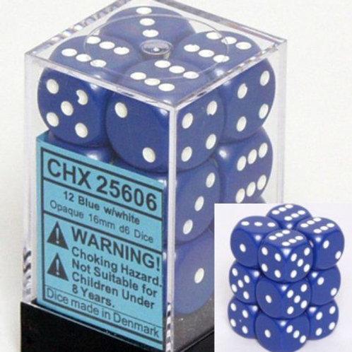 Chessex 12D6 Set Opaque Blue/White 25606