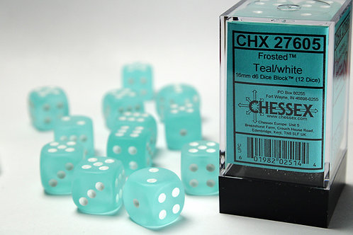 Chessex 12D6 Set Frosted Teal/White 27605