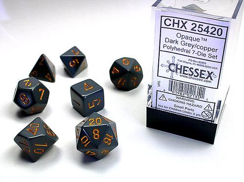 Chessex Polyhedral Set Opaque Dark Grey/Copper 25420