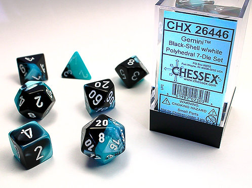 Chessex Polyhedral Set Gemini Black-Shell/White 26446