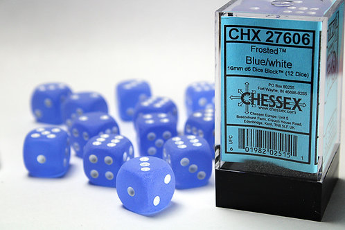 Chessex 12D6 Set Frosted Blue/White 27606