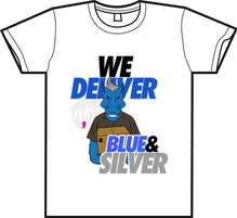 """""""We Deliver Blue & Silver"""" Tee"""