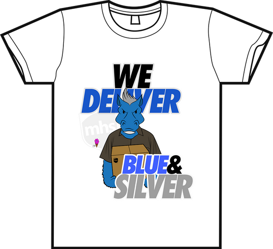 """We Deliver Blue & Silver"" Tee"