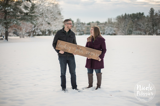 Winter Wonderland Engagement Photos // Lindsey & John // Borderland State Park // Easton, MA