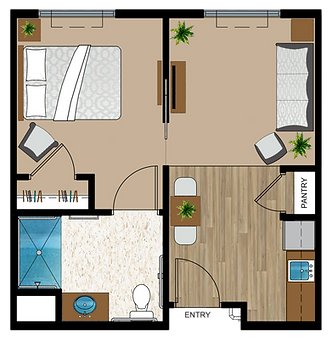 1 Bedroom Assisted Living