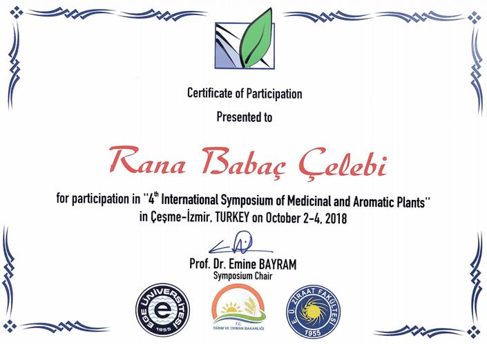 Rana Babaç Çelebi 4th International Symposium of Medicinal and Aromatic Plants.png