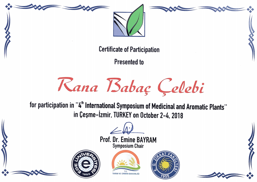 Rana Babaç Çelebi 4th International Symposium of Medicinal and Aromatic Plants.png