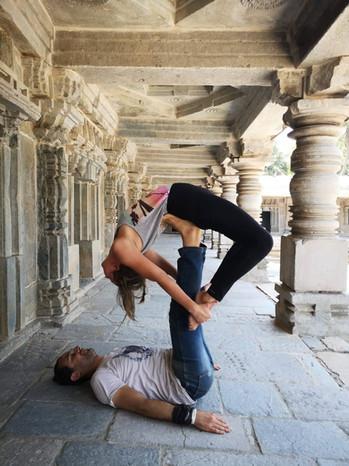 Acro yoga recline bow pose