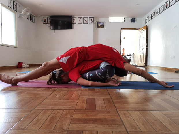 Partner yoga stretch