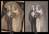 This before and after example of a restored old photo of a bride and groom shows Chip Forelli's skilled Photoshop expertise.