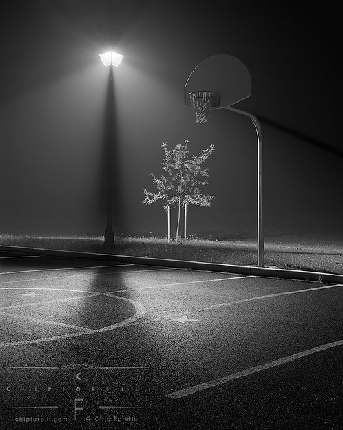 Basketball court and tree on a foggy night lit by a streetlight in black and white.