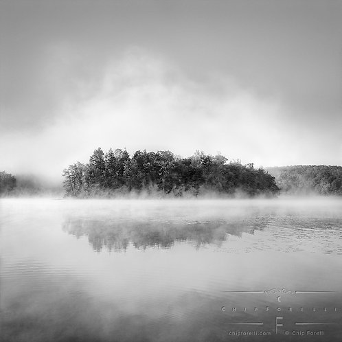 An island filled with trees surrounded by fog on a misty lake in black and white.