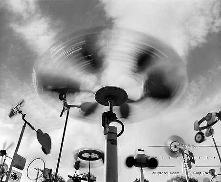 A time exposure of home made wind machines and whirleygigs.