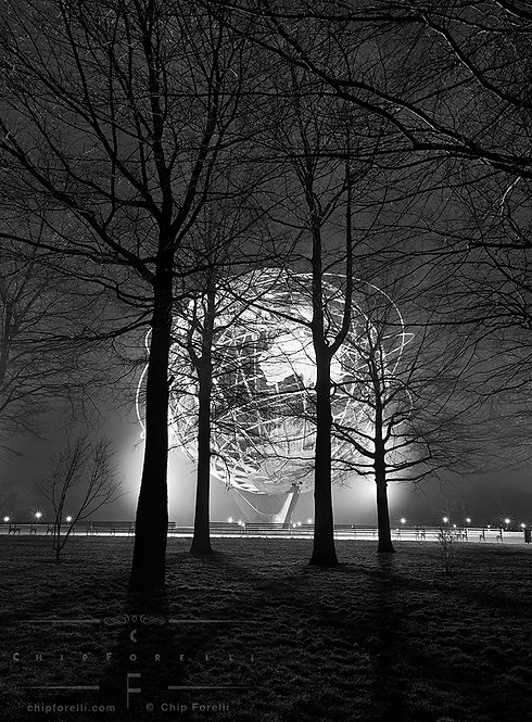 The illuminated Unisphere at night with trees and shadows and a labyrinth of branches in the foreground filling the frame.